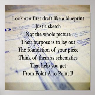 Het Poster van de Blauwdruk van het eerste Ontwerp