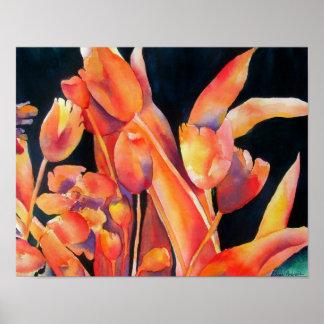 Het Poster van de Bloemen van de zonsondergang