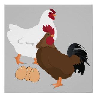 Het Poster van de Eieren van de Haan van de kip