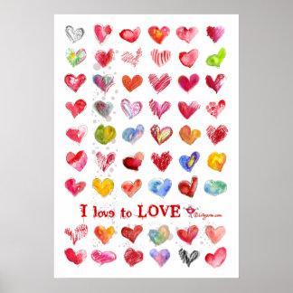 Het Poster van de Harten van de Liefde van de vale