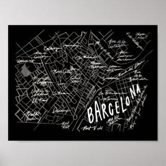 Het Poster van de Kaart van Barcelona Spanje -