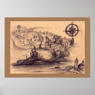 Het Poster van de Kaart van het Land van de