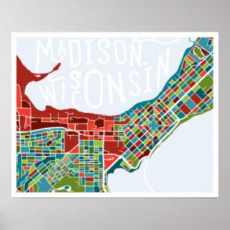 Het Poster van de Kaart van Madison, Wisconsin