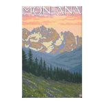 Het Poster van de Reis van FlowersMontanaVintage Stretched Canvas Afdrukken