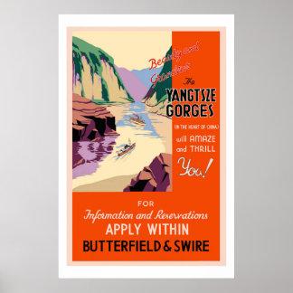Het poster van de Reis van Kloven Yangtsze Vintage
