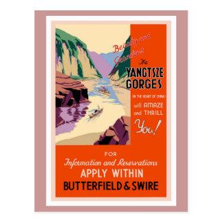 Het poster van de Reis van Kloven Yangtsze Vintage Briefkaart
