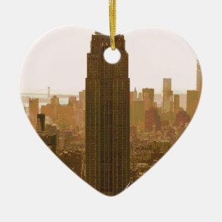 Het Poster van de Stad van New York Keramisch Hart Ornament