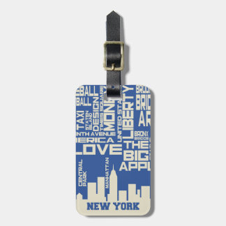 Het Poster van de Typografie van de Stad van New Kofferlabel
