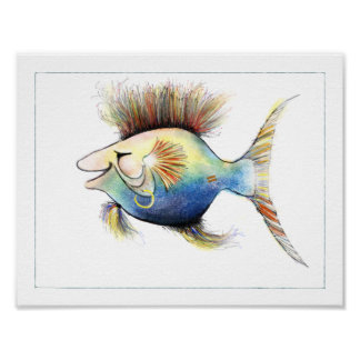 Het Poster van de Vissen van de fantasie: Kabeljau