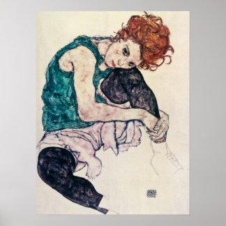 Het Poster van de Vrouw van Egon Schiele Seated