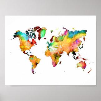 het poster van de wereldkaart