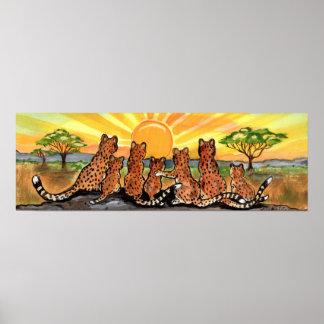 Het Poster van de Zonsopgang van Afrika Serengeti