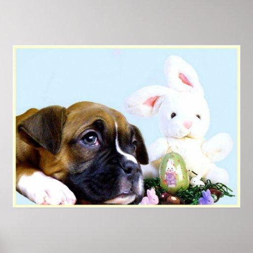 Het poster van het de bokserpuppy van Pasen