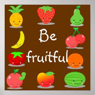 Het Poster van het Fruit van Kawaii