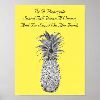 Het Poster van het Kunstwerk van de ananas