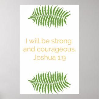 Het Poster van het Vers van de bijbel, 1:9 Joshua