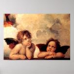 Het Poster van Sistine Madonna van de Cherubijnen