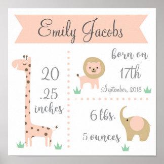 Het Poster van Stats van het Baby van de Safari