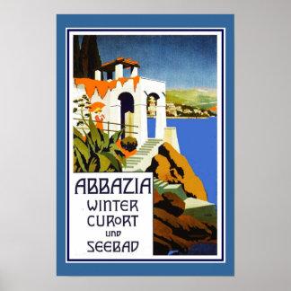 Het Poster Vintage Abbazia Italië van de reis