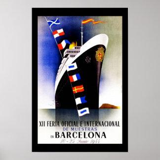 Het Poster Vintage Barcelona Spanje van de reis