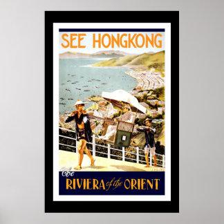 Het Poster Vintage Hong Kong van de reis oriënteer