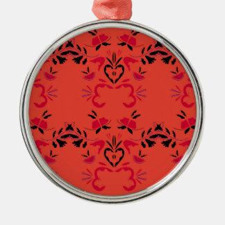 Het prachtige VolksSinaasappel van het ontwerp Zilverkleurig Rond Ornament