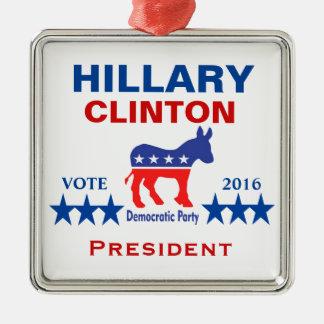 Het President 2016 van Hillary Clinton Zilverkleurig Vierkant Ornament