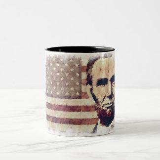 Het President Abraham Lincoln van de patriot Tweekleurige Koffiemok