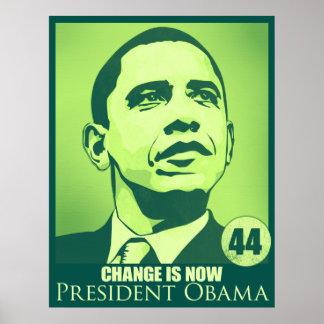 Het president Obama, Verandering is nu Groen Poster