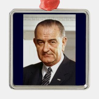 Het President van Lyndon B. Johnson zesendertigste Zilverkleurig Vierkant Ornament