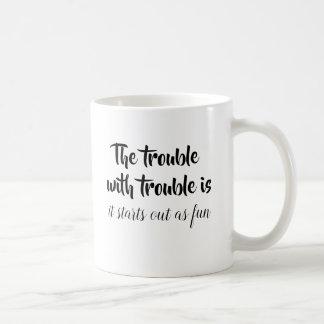 Het probleem met probleemgrap citeert grappig koffiemok