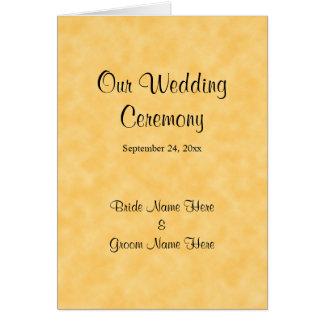 Het Programma van het huwelijk in Geel en Zwart Wenskaart
