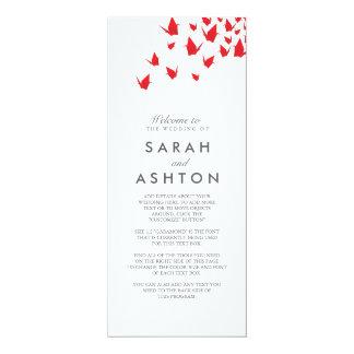 Het Programma van het Huwelijk van de Kranen van 10,2x23,5 Uitnodiging Kaart