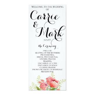 Het Programma van het Huwelijk van de Pioen van de 10,2x23,5 Uitnodiging Kaart