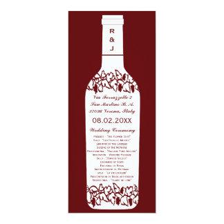 Het Programma van het Huwelijk van de wijngaard 10,2x23,5 Uitnodiging Kaart