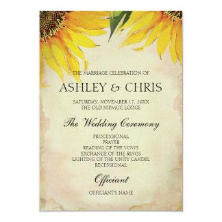 Het Programma van het Huwelijk van de zonnebloem - 12,7x17,8 Uitnodiging Kaart