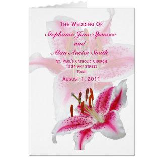 Het Programma van het Huwelijk van het Silhouet Wenskaart