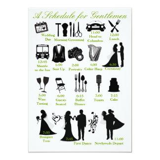 Het Programma van Itenerary van het huwelijk voor 12,7x17,8 Uitnodiging Kaart