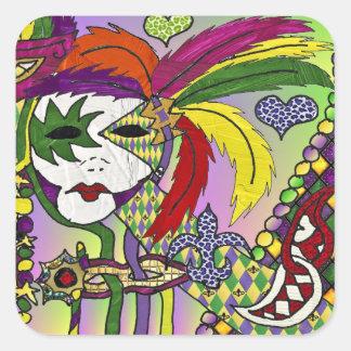 Het psychedelische Masker van de Veer van Mardi Vierkante Sticker