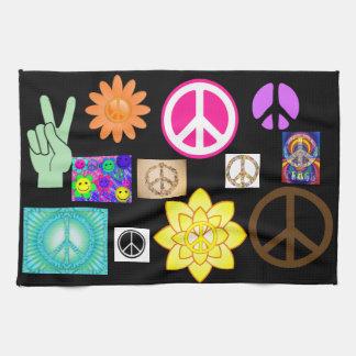 Het psychedelische Teken van de Vrede Theedoek