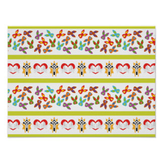 Het psycho kleurrijke Patroon van Pasen Poster