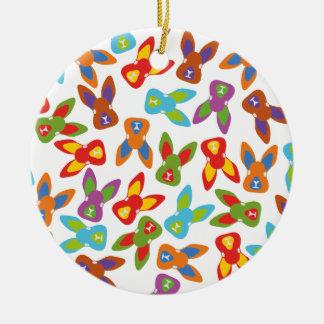 Het psycho kleurrijke Patroon van Pasen Rond Keramisch Ornament