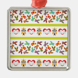 Het psycho kleurrijke Patroon van Pasen Zilverkleurig Vierkant Ornament