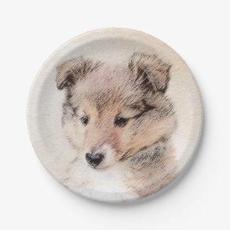 Het Puppy die van de Herdershond van Shetland het Papieren Bordje