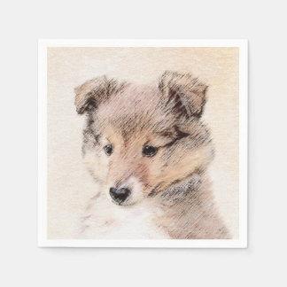 Het Puppy die van de Herdershond van Shetland het Papieren Servet