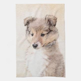 Het Puppy die van de Herdershond van Shetland het Theedoek