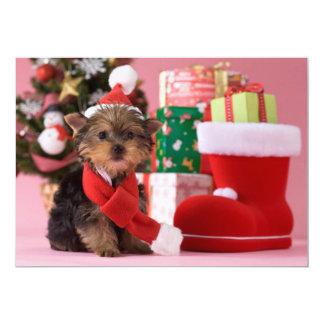 Het Puppy en Kerstmis van Yorkshire Terrier Kaart