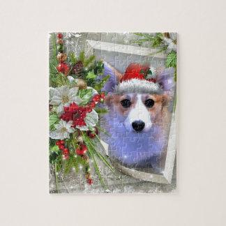 Het Puppy van Corgi van Kerstmis in Wit Lijst Legpuzzel