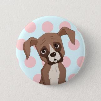 Het puppy van de bokser op Roze Stippen Ronde Button 5,7 Cm