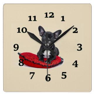 Het Puppy van de buldog Vierkante Klok